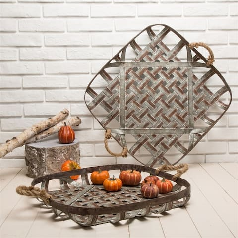 Glitzhome Farmhouse Oversized Galvanized Metal Wall Basket