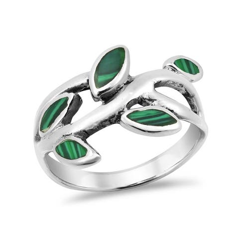 Handmade Olive Branch Leaves Wrap Stone Sterling Silver Ring (Thailand)