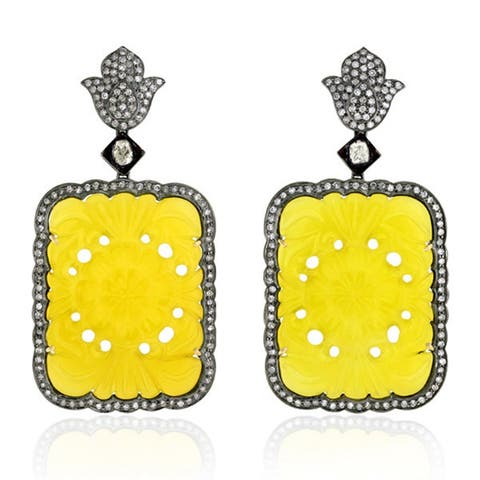 18Kt Gold 925 Silver Diamond Carving Agate Dangle Earring Carving Jewelry