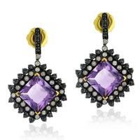 18Kt Gold Silver 925 Diamond Designer Amethyst Dangle Earring Semiprecious Stone Jewelry