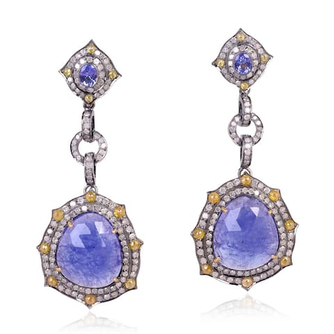 18Kt Gold 925 Silver Diamond Designer Tanzanite Dangle Earring Gemstone Jewelry