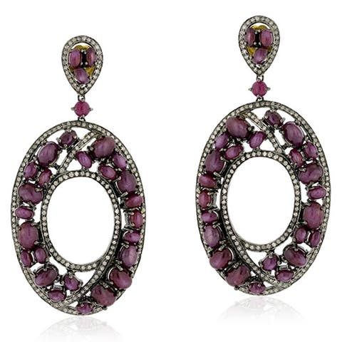 18Kt Gold Silver 925 Diamond Designer Indian Ruby Dangle Earring Precious Stone Jewelry