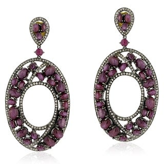 18Kt Gold Silver 925 Diamond Designer Indian Ruby Dangle Earring Precious Stone Jewelry