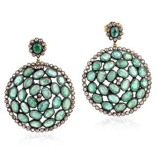14Kt Gold 925 Silver Diamond Emerald Dangle Earring Precious Stone Jewelry