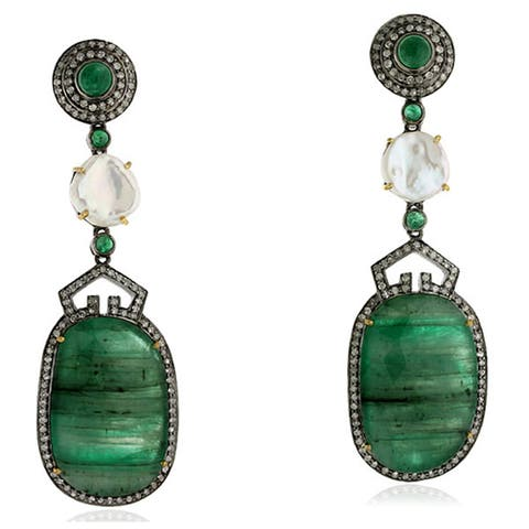 18Kt Gold 925 Silver Diamond Designer Emerald Pearl Dangle Earring Gemstone Jewelry