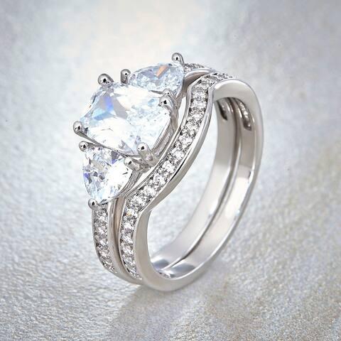 Divina Silver Overlay Cubic Zirconia Bridal Ring Set