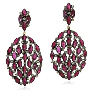 14Kt Gold Silver 925 Diamond Designer Ruby Dangle Earring Gemstone Jewelry