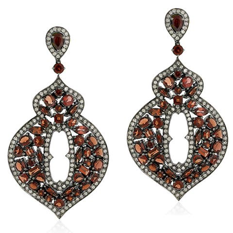 18Kt Gold Silver 925 Diamond Designer Garnet Dangle Earring Semiprecious Stone Jewelry