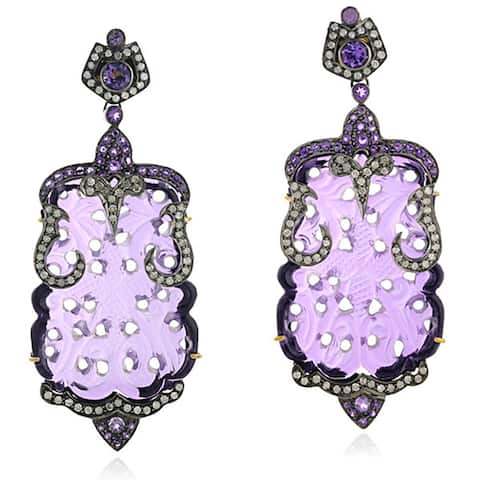 18Kt Gold Silver 925 Diamond Carving Amethyst Dangle Earring Carving Jewelry
