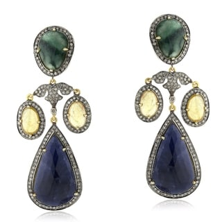 14Kt Gold Silver 925 Diamond Designer Emerald Sapphire Chandelier Earring Precious Stone Jewelry