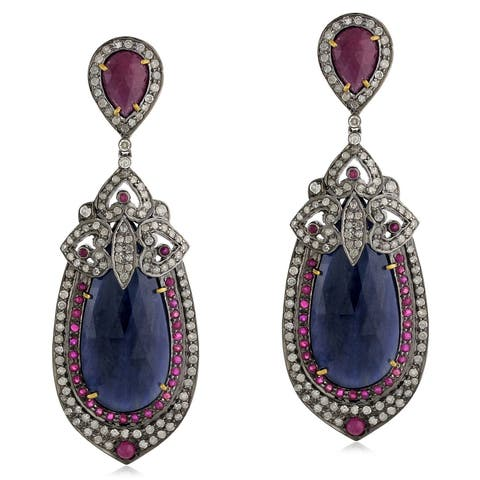 18Kt Gold Silver 925 Diamond Designer Ruby Sapphire Dangle Earring Precious Stone Jewelry