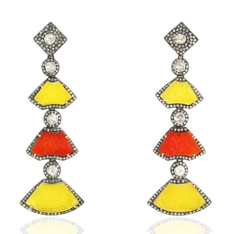 18Kt Gold Silver Diamond Carving Agate Dangle Earring Carving Jewelry