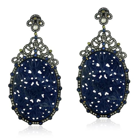 18Kt Gold Silver 925 Diamond Designer Sapphire Dangle Earring Carving Jewelry