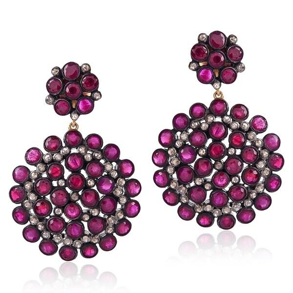 14Kt Gold Silver 925 Diamond Designer Ruby Dangle Earring Precious Stone Jewelry