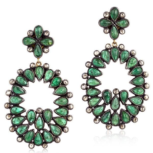 14Kt Gold 925 Silver Diamond Designer Emerald Dangle Earring Precious Stone Jewelry