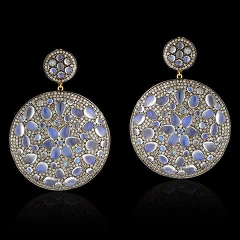 14Kt Gold Silver 925 Diamond Designer Moonstone Dangle Earring Semiprecious Stone Jewelry
