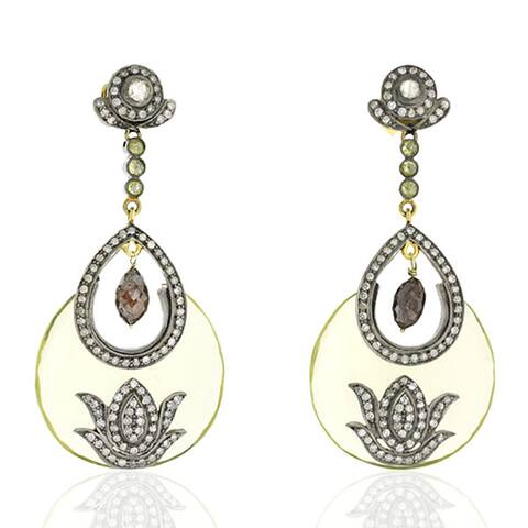 18Kt Gold Silver 925 Diamond Designer Lemon Quartz Dangle Earring Semiprecious Stone Jewelry