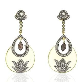18Kt Gold Silver 925 Diamond Designer Lemon Quartz Dangle Earring Semiprecious Stone Jewelry