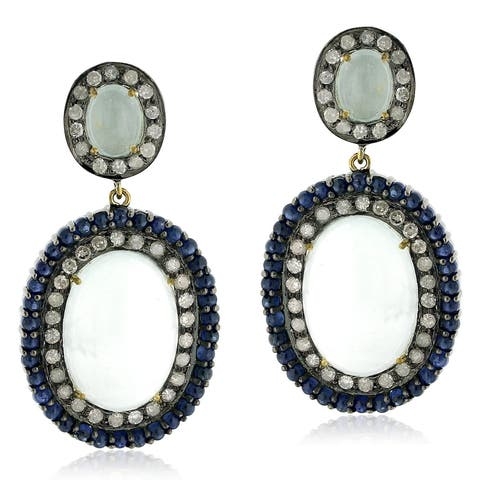 18Kt Gold Silver 925 Diamond Designer Aquamarine Sapphire Dangle Earring Gemstone Jewelry
