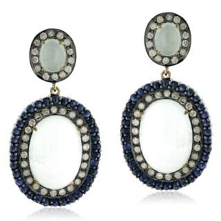 18Kt Gold Silver 925 Diamond Designer Aquamarine Sapphire Dangle Earring Gemstone Jewelry