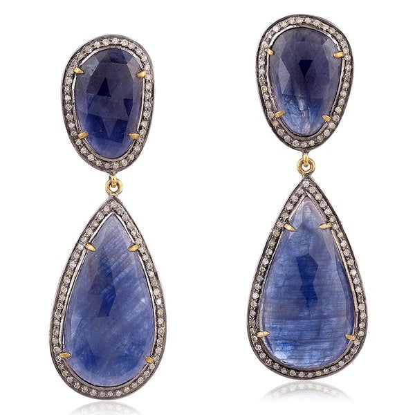 14Kt Gold 925 Silver Diamond Designer Sapphire Dangle Earring Precious Stone Jewelry