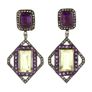 Silver 925 Diamond Designer Sapphire Dangle Earring Precious Stone Jewelry 18Kt Gold