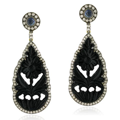 18Kt Gold Silver 925 Diamond Carving Onyx Sapphire Dangle Earring Carving Jewelry