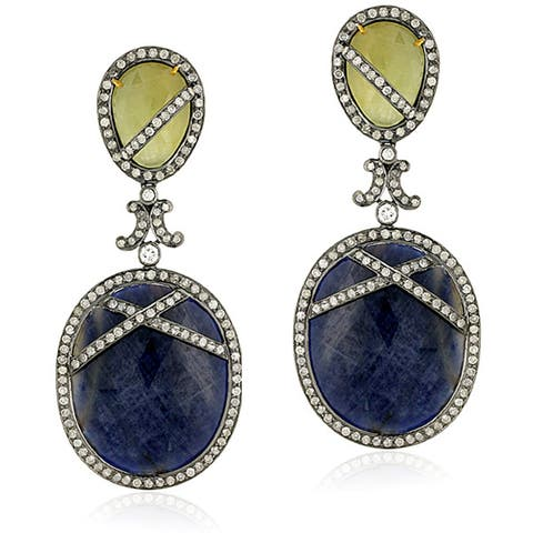 18Kt Gold Silver 925 Diamond Designer Sapphire Dangle Earring Jewelry