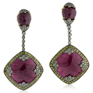 18Kt Gold Silver 925 Diamond Designer Ruby Dangle Earring Precious Stone Jewelry