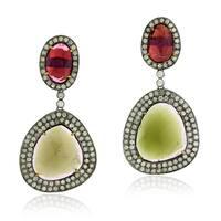 18Kt Gold Silver 925 Diamond Designer Tourmaline Dangle Earring Gemstone Jewelry