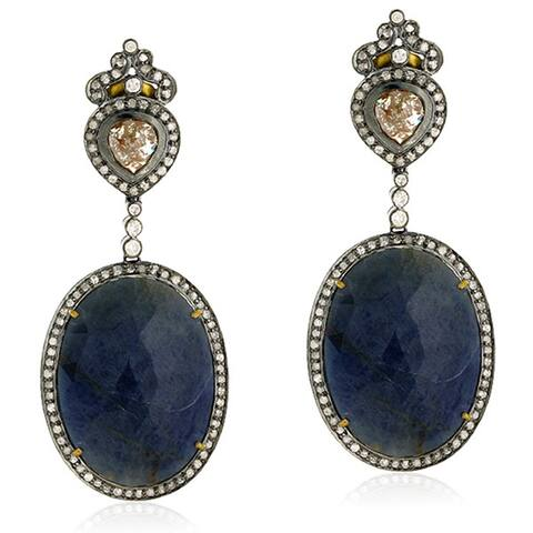18Kt Gold Silver 925 Diamond Sapphire Dangle Earring Precious Stone Jewelry