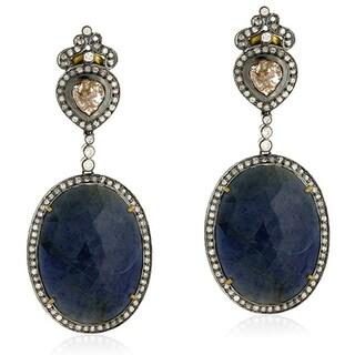 18Kt Gold Silver 925 Diamond Sapphire Dangle Earring Precious Stone Jewelry