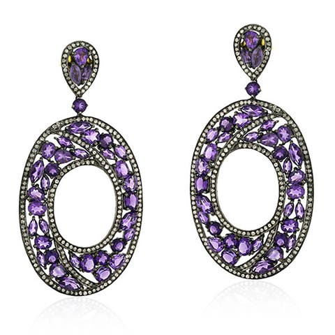 18Kt Gold Diamond Designer Amethyst Dangle Earring Semiprecious Stone Silver 925 Jewelry