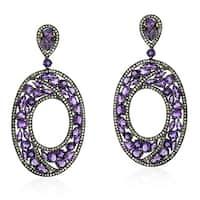 18Kt Gold Diamond Designer Amethyst Dangle Earring Semiprecious Stone Silver 925 Jewelry