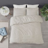 Madison Park Joelie Ivory 3 Piece Cotton Seersucker Duvet Cover Set