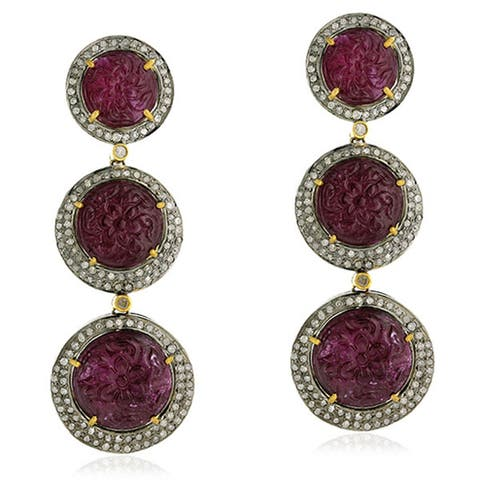 18Kt Gold Silver 925 Diamond Carving Ruby Dangle Earring Carving Jewelry