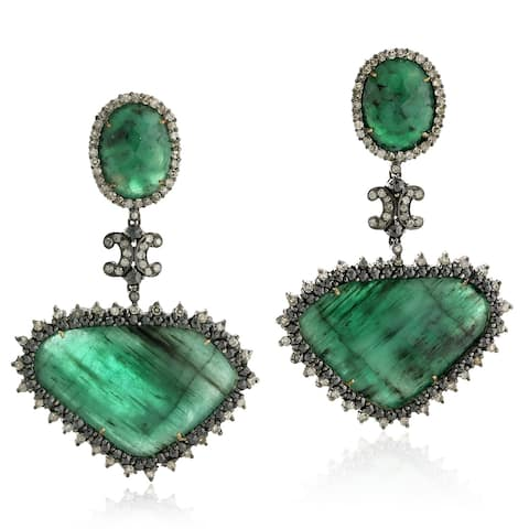 18Kt Gold Silver 925 Diamond Designer Emerald Dangle Earring Gemstone Jewelry