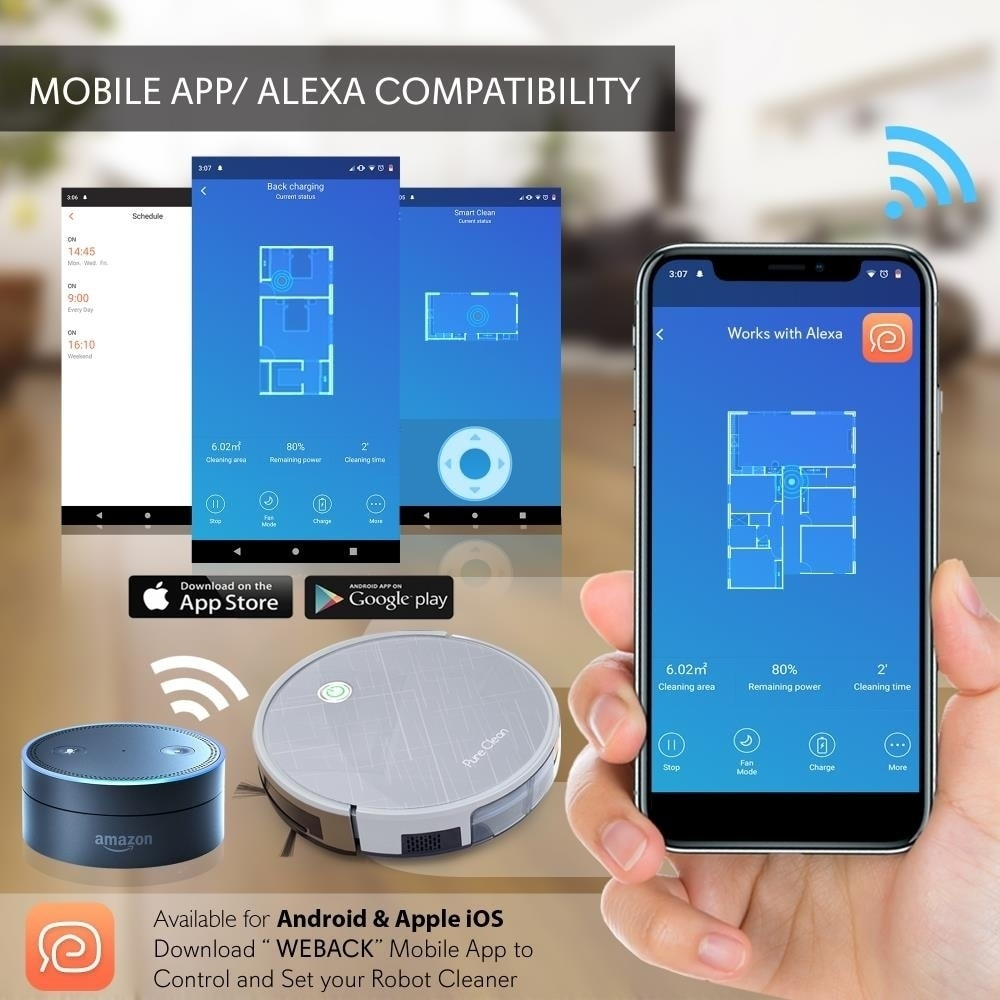 Shop Pure Clean Smart Robot Vacuum Cleaner Powerful Cleaning W App Remote Control Overstock 26889514