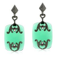 18Kt Gold Silver 925 Diamond Designer Onyx Dangle Earring Semiprecious Stone Jewelry