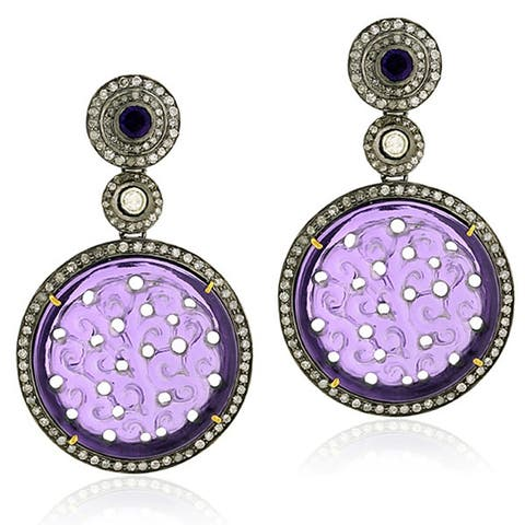 18Kt Gold Silver Indian Diamond Carving Amethyst Dangle Earring Carving Jewelry