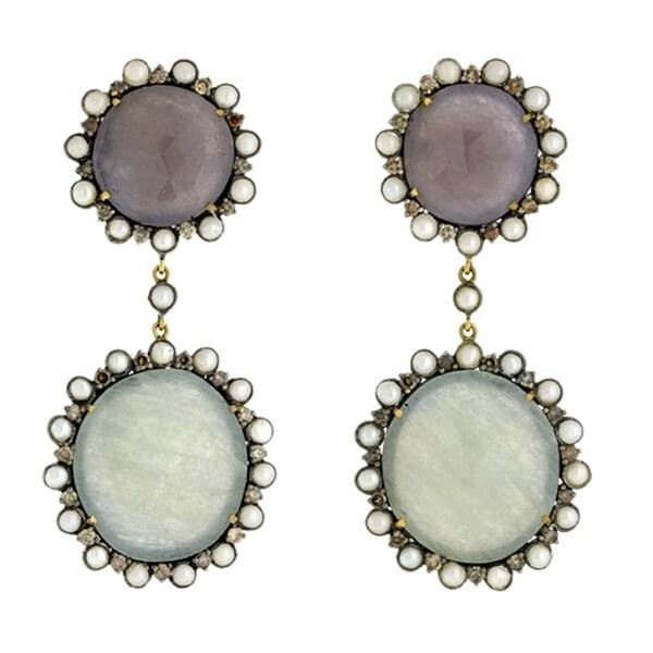 18Kt Gold Silver 925 Diamond Designer Sapphire Pearl Dangle Earring Precious Stone Jewelry
