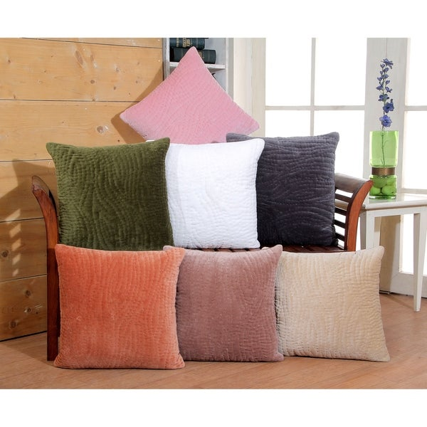 Kyzer Cotton Velvet Hand Quilted Decorative Throw Pillow Cover-18x18''. Opens flyout.