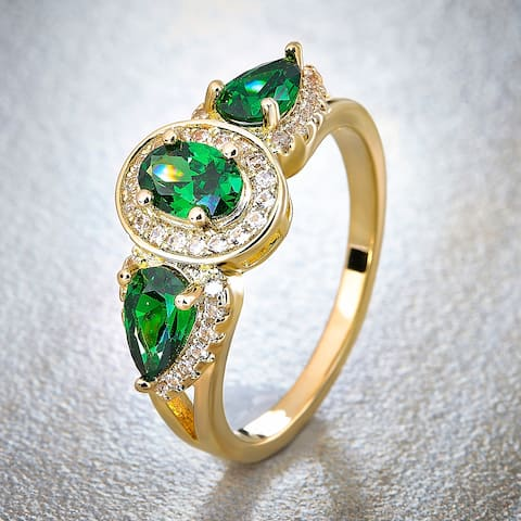Divina Gold Overlay Created Emerald and White Sapphire Fashion Ring