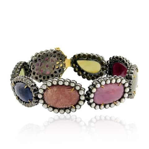 18Kt Gold 925 Silver Diamond Designer Ruby Sapphire Pearl Fixed And Flexible Bracelet Gemstone Jewelry
