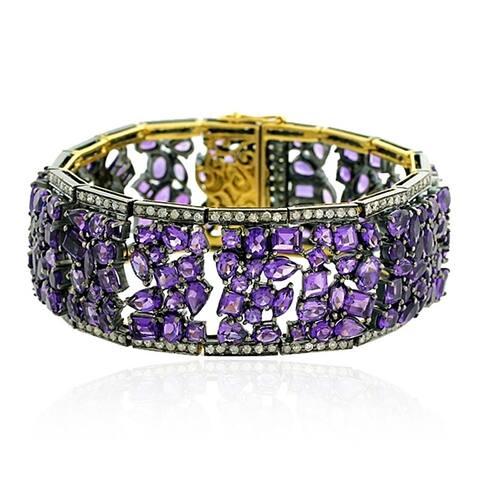 18Kt Gold 925 Silver Diamond Designer Amethyst Fixed And Flexible Bracelet Semiprecious Stone Jewelry