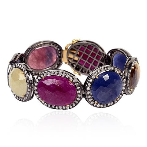18Kt Gold and Sterling Silver Diamond ,Sapphire, Ruby Fixed And Flexible Bracelet