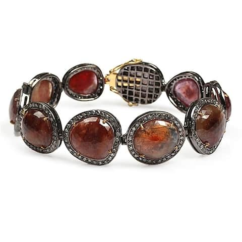 18Kt Gold 925 Silver Diamond Designer Sapphire Fixed And Flexible Bracelet Gemstone Jewelry