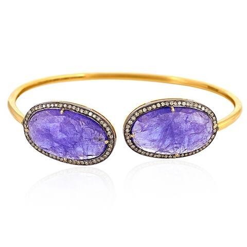 14Kt Gold 925 Silver Diamond Designer Tanzanite Fixed And Flexible Bracelet Gemstone Jewelry