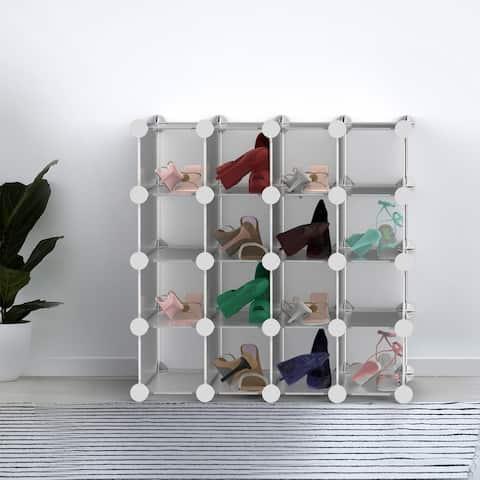 16 Piece Interlocking Storage Cubby ? Modular Plastic Shoe Organizer Shelf and Closet Storage Bin System by Lavish Home
