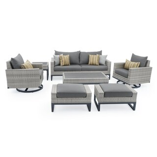Milo Grey 7pc Motion Deep Seating Set in Charcoal Grey by RST Brands